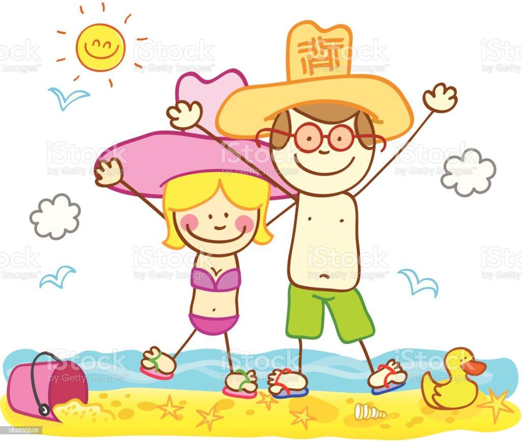 happy summer holiday adult couple lovers at beach cartoon illustration royalty free stock vector art