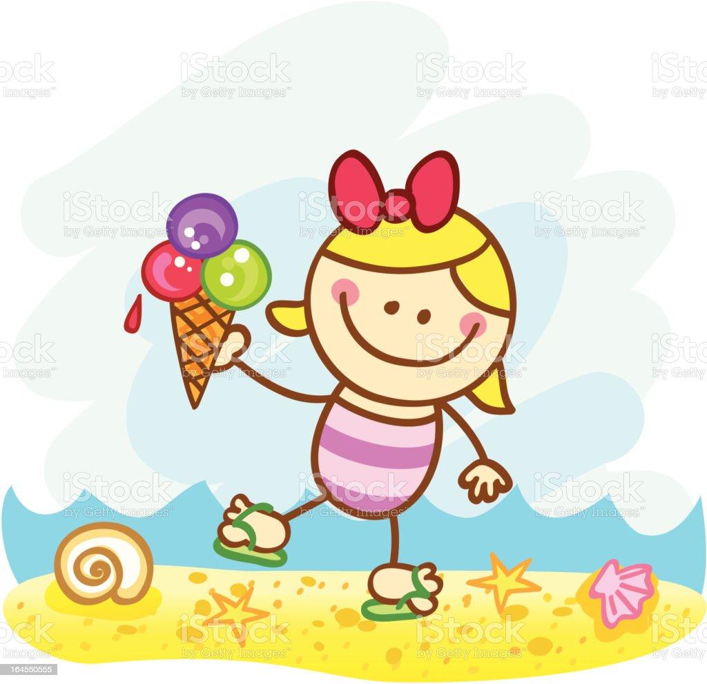 happy summer holiday girl with icecream at beach cartoon illustration royalty free stock vector art