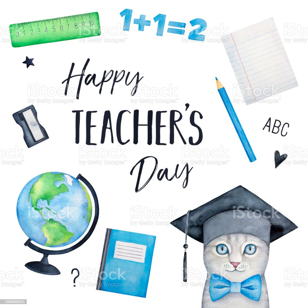 Happy teachers day holiday greeting card design with cheerful little happy teachers day holiday greeting card design with cheerful little kitten character in graduation hat and m4hsunfo