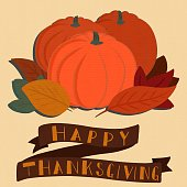 istock Happy Thanksgiving Banner with a Pumpkin Patch Graphic 1022538906