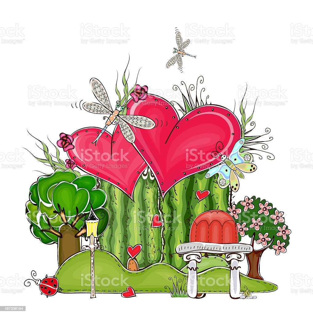Happy Valentine Love Garden Illustration With Hearts Stock Vector ...