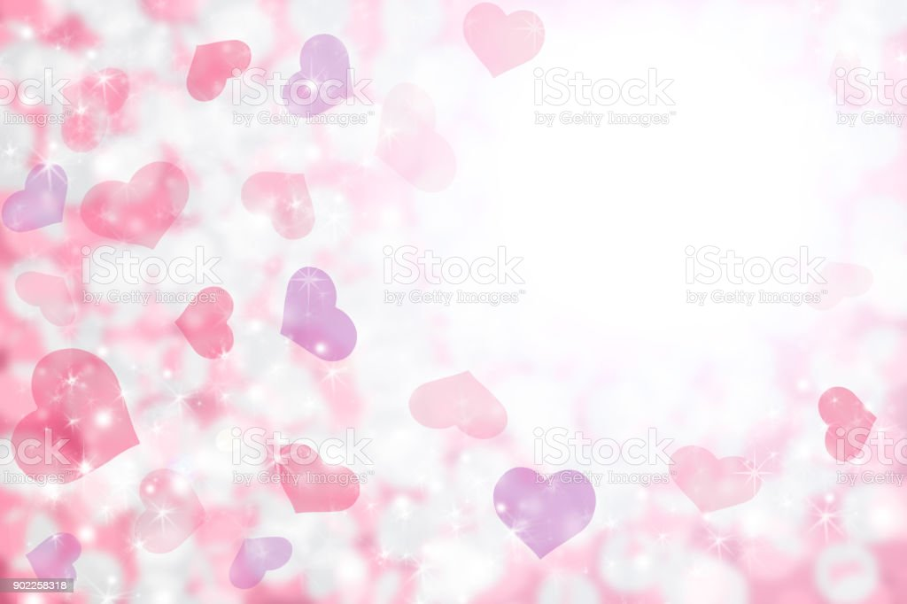 Happy Valentines Day Background Of Pastel Pink Purple Hearts And