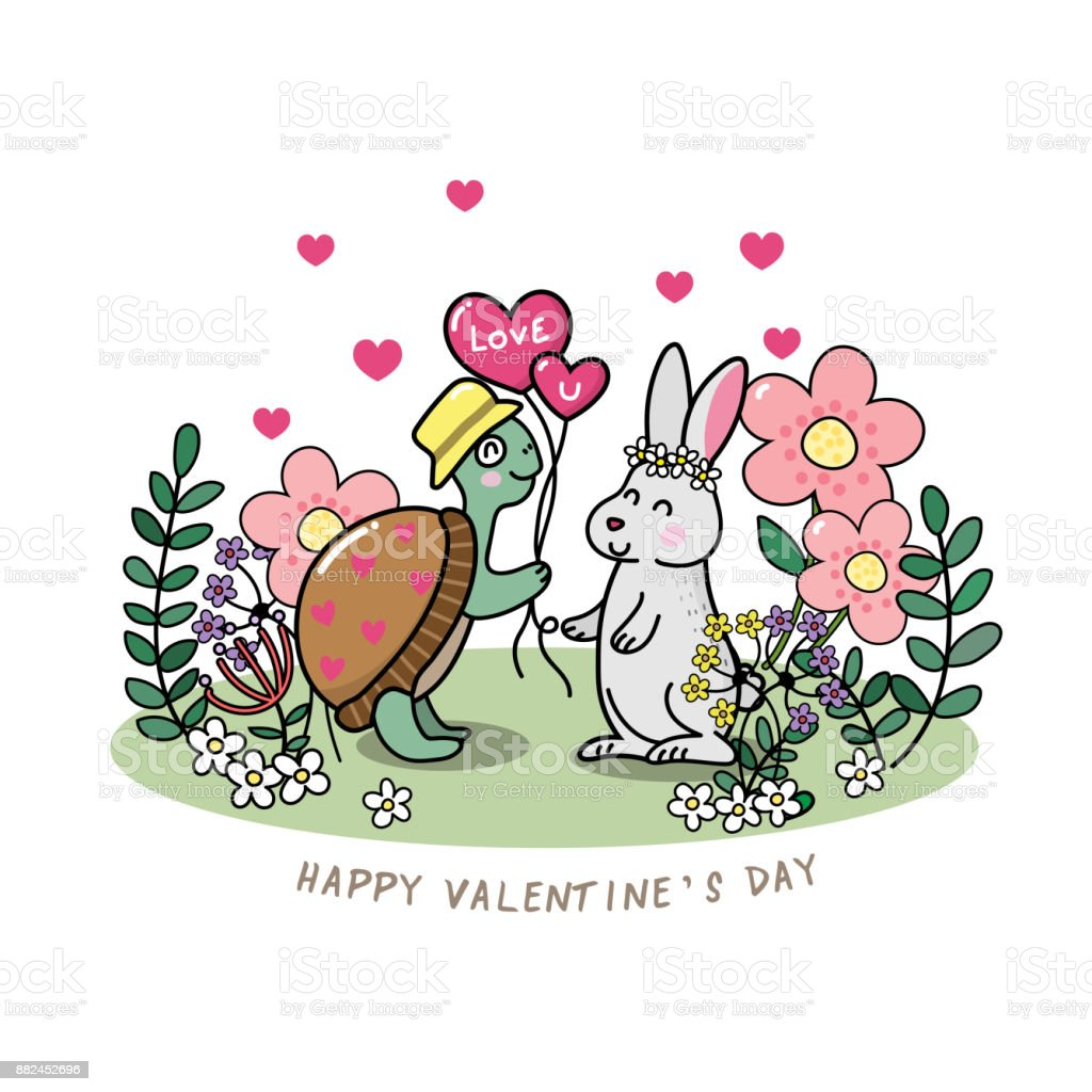Happy valentines day greeting card with cute tortoise and rabbit happy valentines day greeting card with cute tortoise and rabbit vector and background royalty m4hsunfo