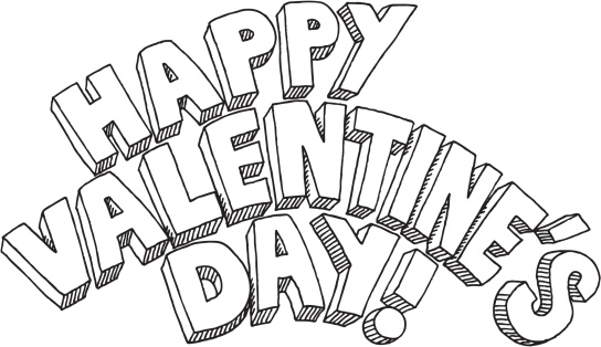 Happy Valentines Day Text Drawing