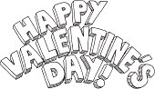 Hand-drawn vector drawing of a Happy Valentine's Day! Lettering. Black-and-White sketch on a transparent background (.eps-file). Included files: EPS (v8) and Hi-Res JPG.