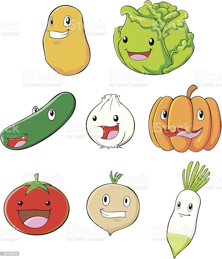 Happy Vegetables royalty-free stock vector art