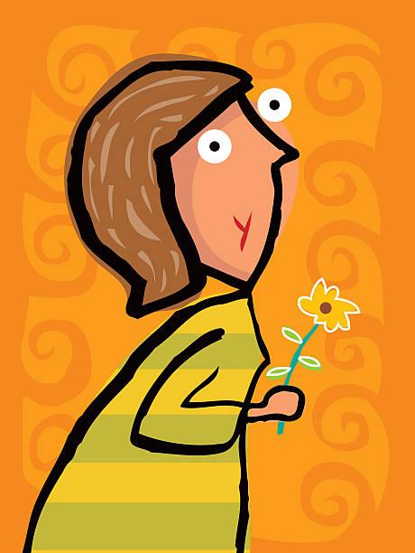 Happy women with flower vektorkonstillustration