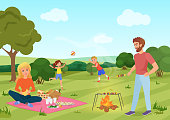 Happy youg family on a picnic in forest field. Father, mother, son and daughter are playing andresting in nature vector illustration.