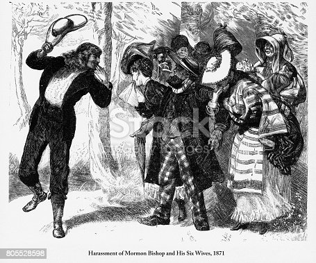Beautifully Illustrated Antique Engraved Victorian Illustration of Harassment of Mormon Bishop and His Six Wives Engraving, 1871. Source: Original edition from my own archives. Copyright has expired on this artwork. Digitally restored.