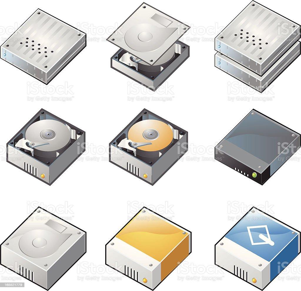 Hard disks isometric vector art illustration