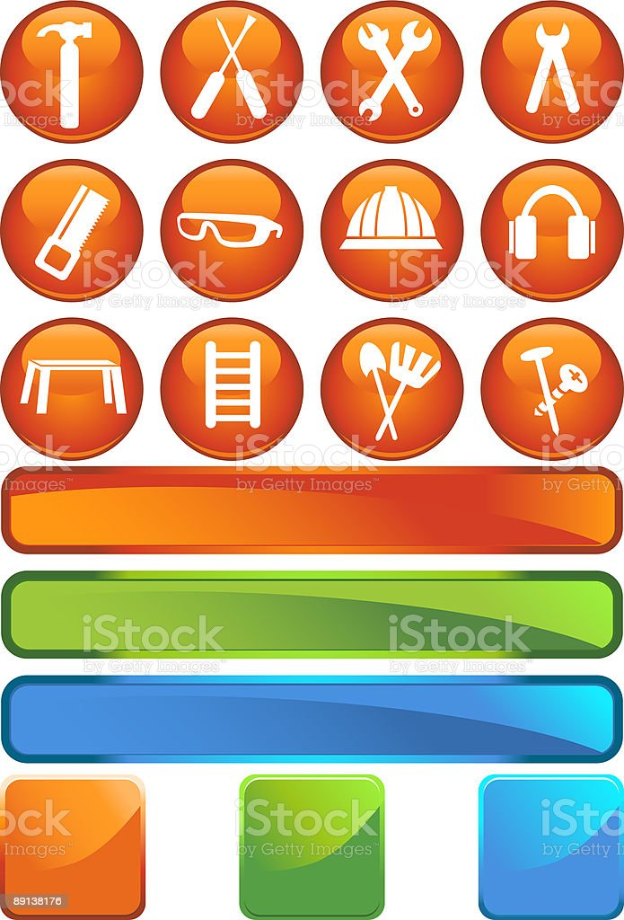 Hardware Store Icons: Sphere Series royalty-free stock vector art