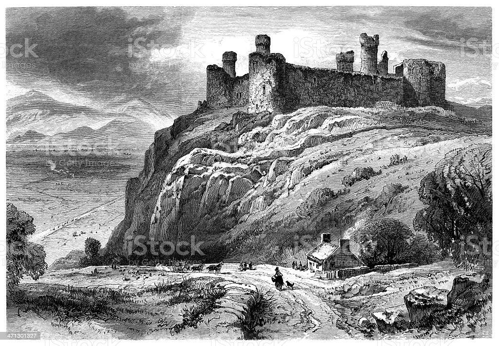 Harlech Castle, Wales vector art illustration