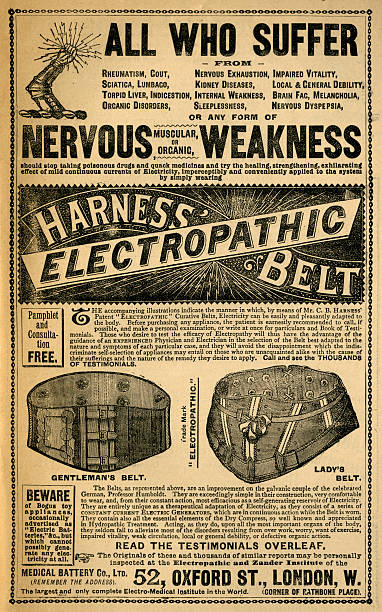 """Harness' electropathic belt - Victorian ad In studio, London, England - April 20, 2014: A scanned image of a vintage advertisement for Harness' electropathic belt, which indicated it would be able to alleviate many annoying conditions and illnesses. Their showroom, called the Electropathic and Zander Institute, was on the corner of Rathbone Place and Oxford Street, in the West End of London. Advertisement from """"Old & New London"""" by Walter Thornbury and Edward Walford, published in parts by Cassell & Co, London from 1873-1888. brand name stock illustrations"""