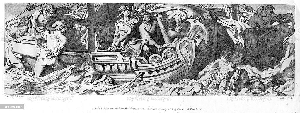 Harold Godwinson and his men are shipwrecked royalty-free stock vector art