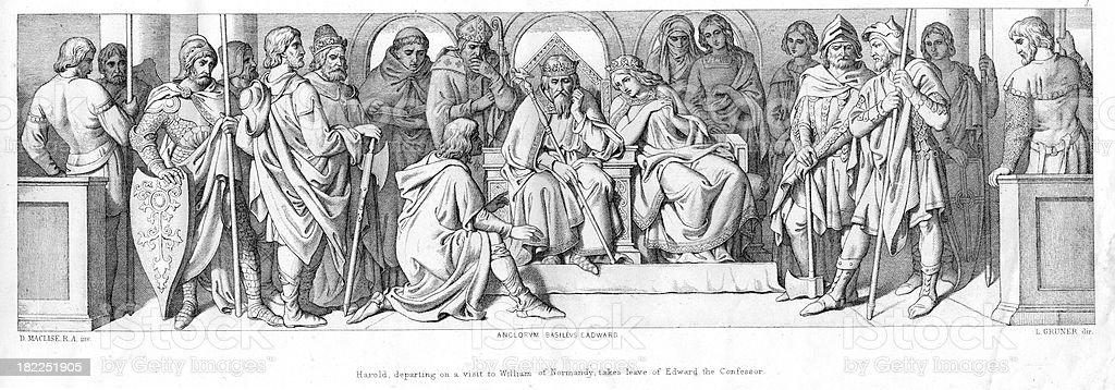Harold Godwinson and King Edward the Confessor vector art illustration