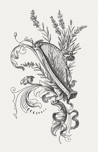 Harp and floral ornaments, wood engraving, published in 1860