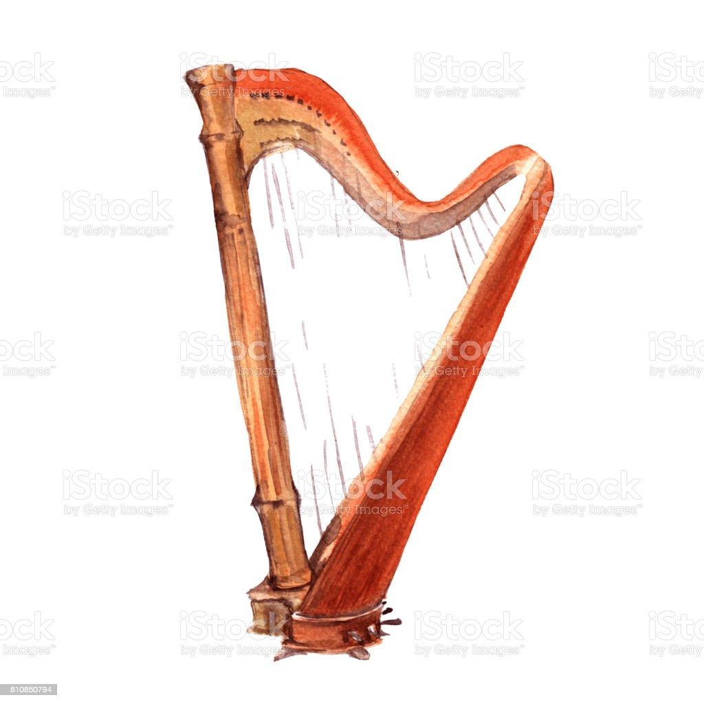 Harp. Musical instruments. Isolated on white background. vector art illustration