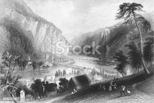 Antique engraved image of Harpers Ferry, WV. Mid 1800s.
