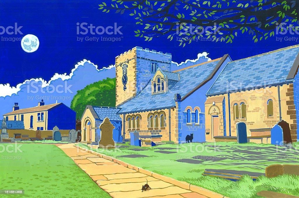 Hartshead Church royalty-free stock vector art