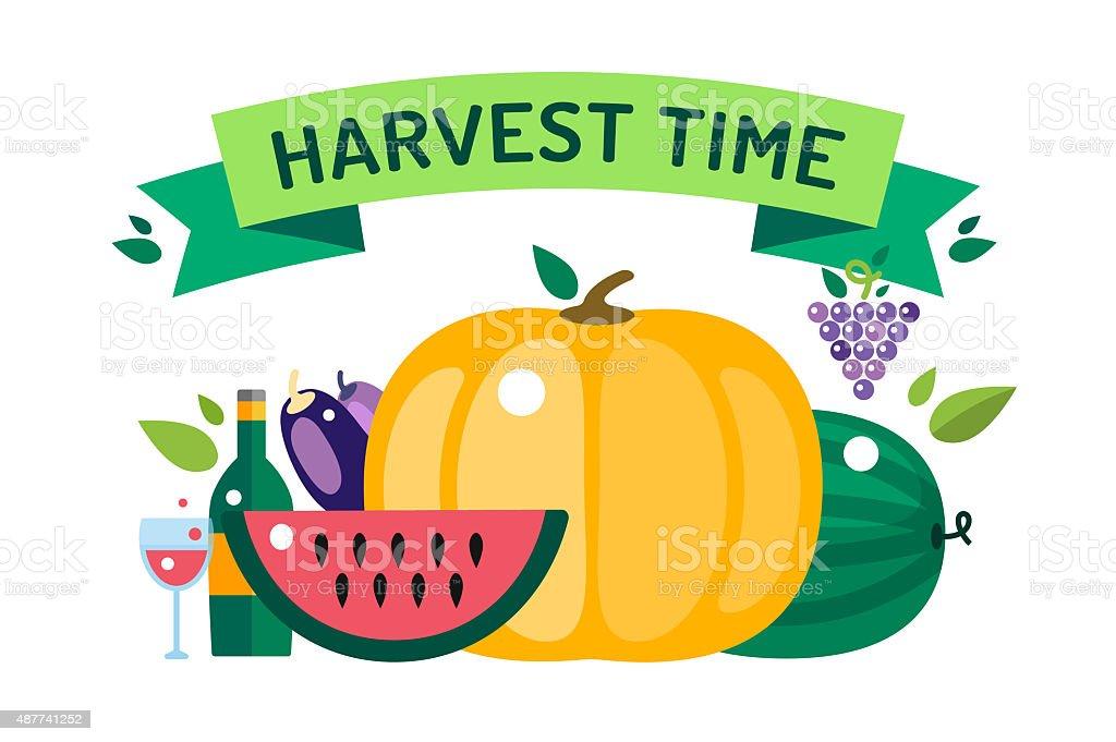 Harvest time vector illustration vector art illustration