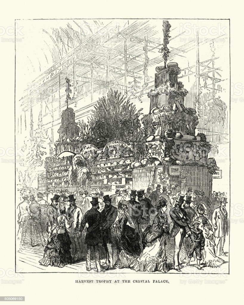Harvest Trophy at the Crystal Palace, 1871 vector art illustration