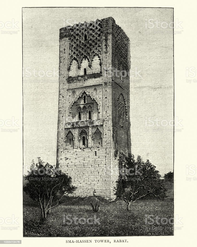 Hassan Tower, Rabat, Morocco, 19th Century vector art illustration