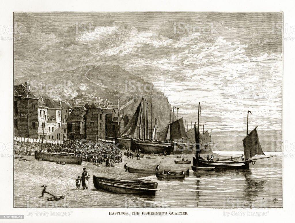 Hastings, England The Fishermen's Quarter Victorian Engraving vector art illustration