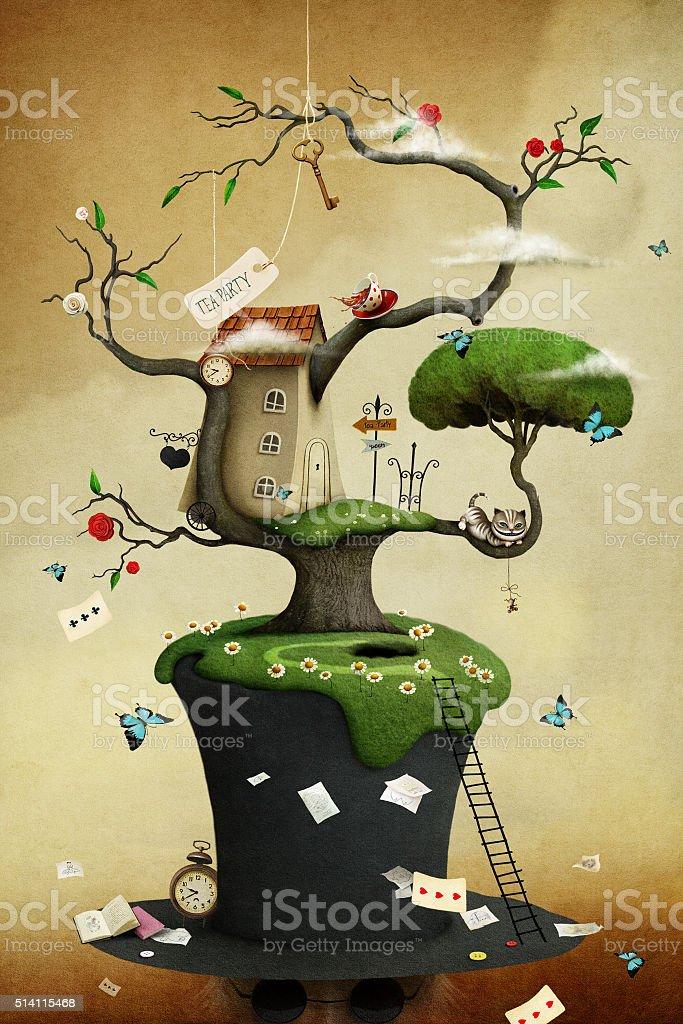Cappello e albero - illustrazione arte vettoriale