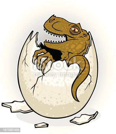 dinosaur hatching out of an egg