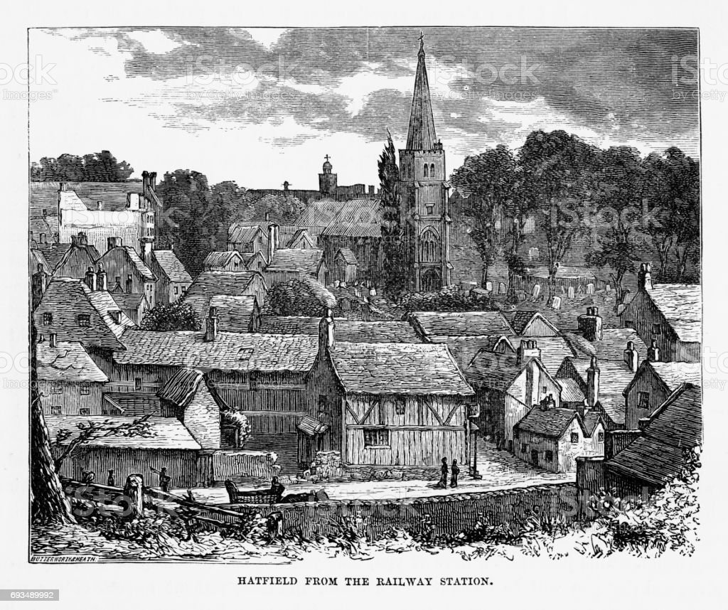 Hatfield From the Railway Station, Hertfordshire, England Victorian Engraving, 1840 vector art illustration