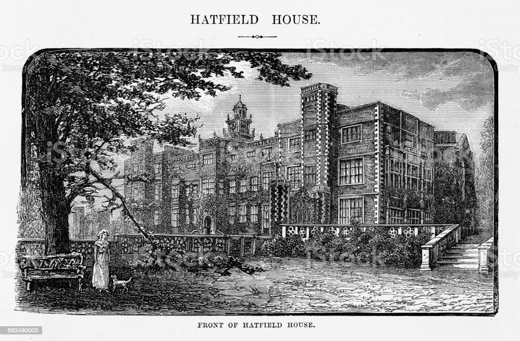 Hatfield, Front of Hatfield House, Hertfordshire, England Victorian Engraving, 1840 vector art illustration