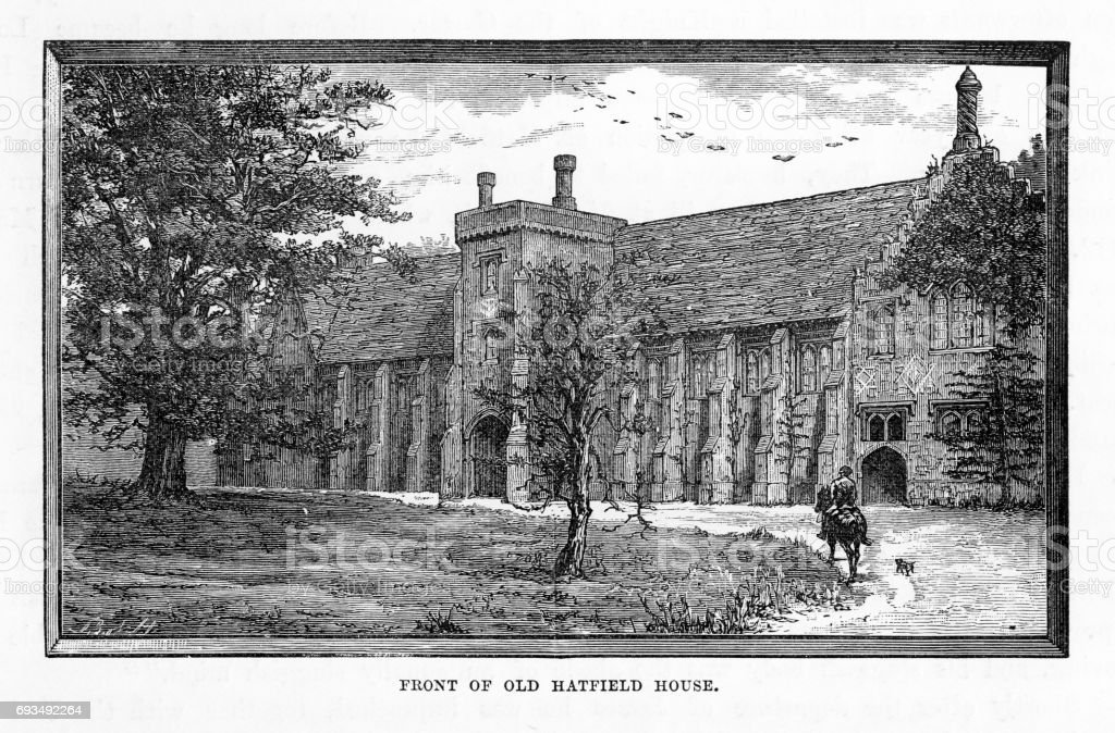 Hatfield, Front of Old Hatfield House, Hertfordshire, England Victorian Engraving, 1840 vector art illustration