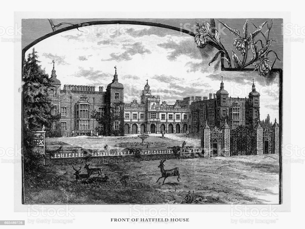 Hatfield, Hatfield House, Hertfordshire, England Victorian Engraving, 1840 vector art illustration