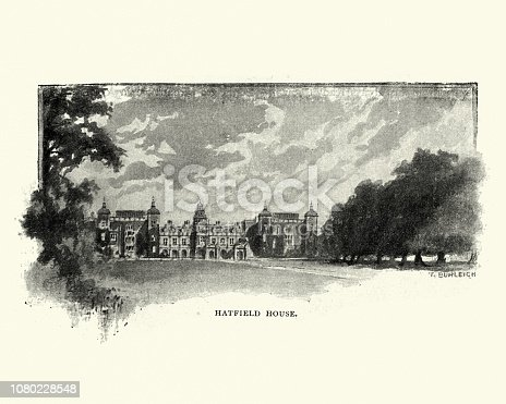 Vintage engraving of Hatfield House, a country house set in a large park, the Great Park, on the eastern side of the town of Hatfield, Hertfordshire, England. The present Jacobean house, a leading example of the prodigy house, was built in 1611 by Robert Cecil, 1st Earl of Salisbury
