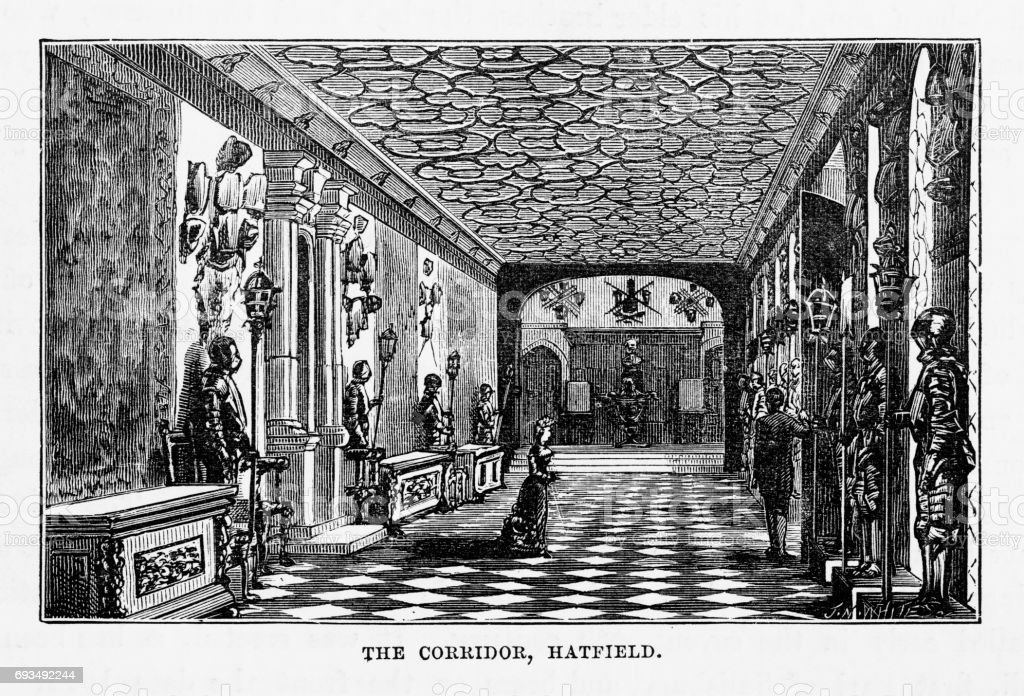 Hatfield, The Corridor, Hatfield House, Hertfordshire, England Victorian Engraving, 1840 vector art illustration