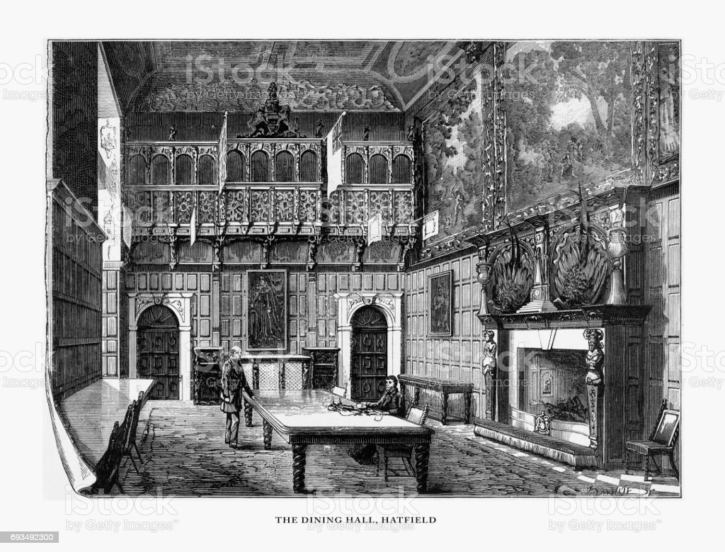 Hatfield, The Dining Hall, Hatfield House, Hertfordshire, England Victorian Engraving, 1840 vector art illustration