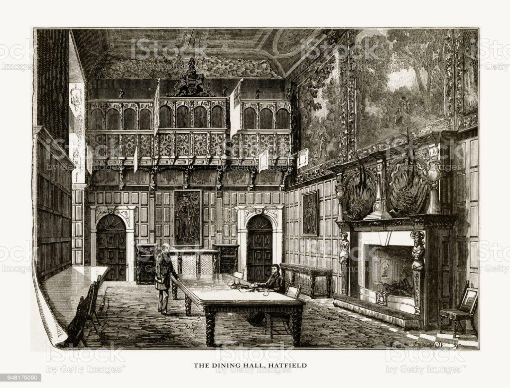hatfield la salle manger hatfield house hertfordshire angleterre victorienne gravure