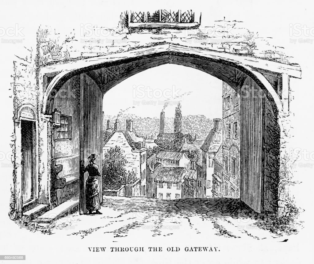 Hatfield Through the Old Gateway, Hertfordshire, England Victorian Engraving, 1840 vector art illustration