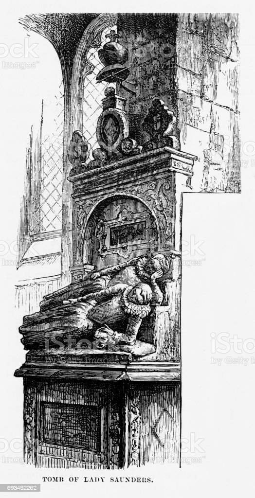 Hatfield, Tomb of Lady Saunders, Hertfordshire, England Victorian Engraving, 1840 vector art illustration