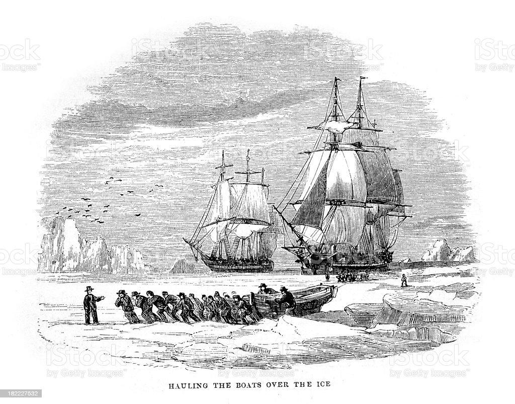Hauling boats over the polar ice vector art illustration