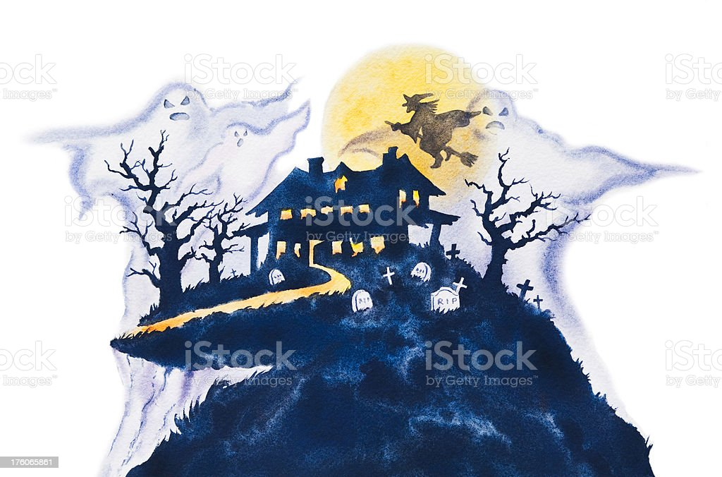 Haunted House vector art illustration
