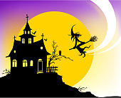 drawing and computer design of vector haunted house silhouette.