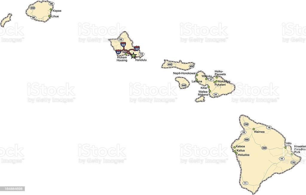 Hawaii Highway Map stock vector art 164884698 iStock