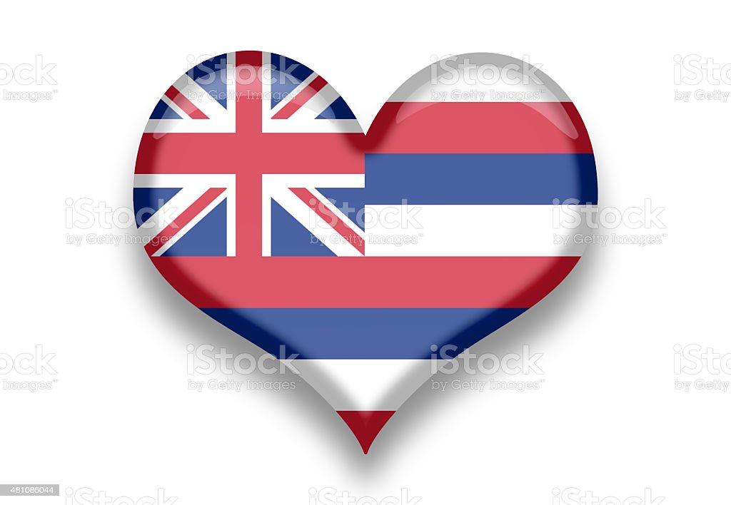 Hawaii State Flag Heart Shape With Shadows Royalty Free