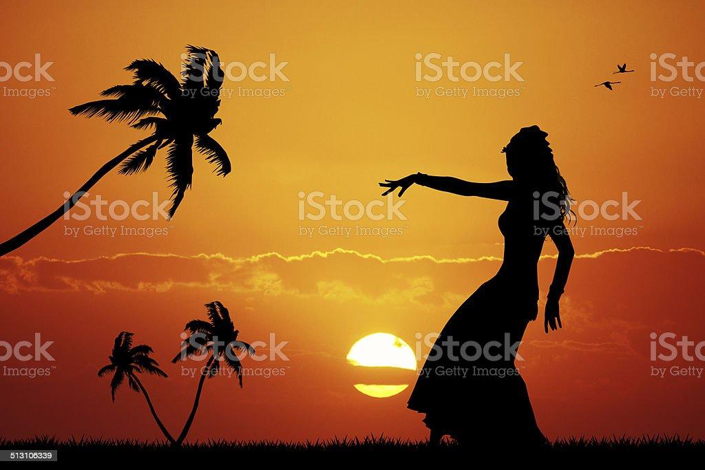 Hawaiian dance vector art illustration