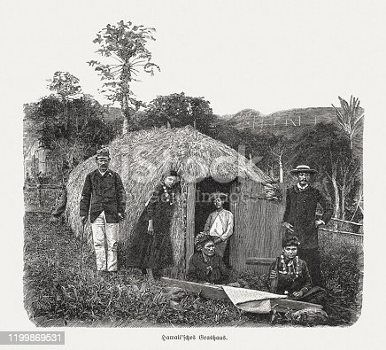 Hawaiian grass hut in the past. Wood engraving after a photograph, published in 1899.