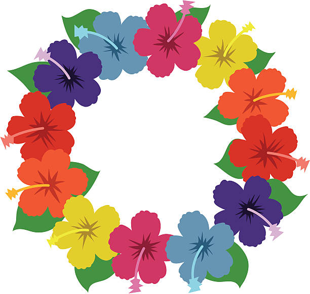 hawaiian hibiscus lei - hawaiian lei stock illustrations, clip art, cartoons, & icons