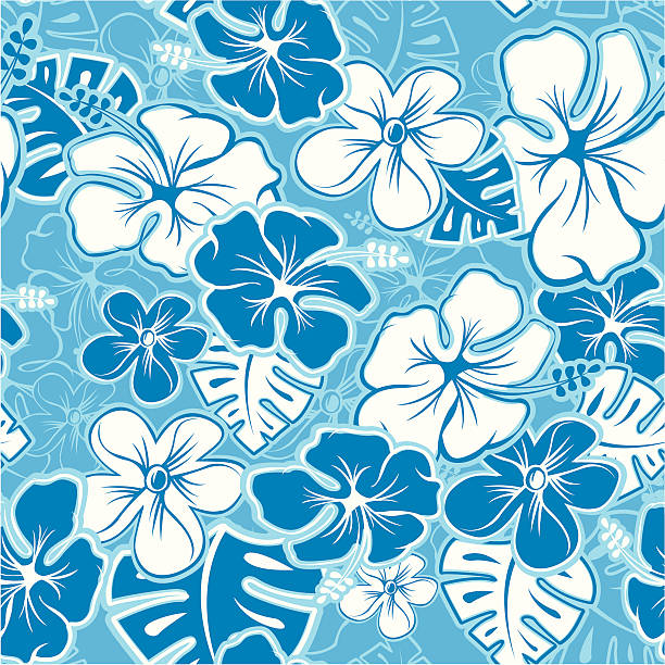 Hawaiian Pattern Vector Tileable Seamless Hawaiian Pattern hawaiian culture stock illustrations