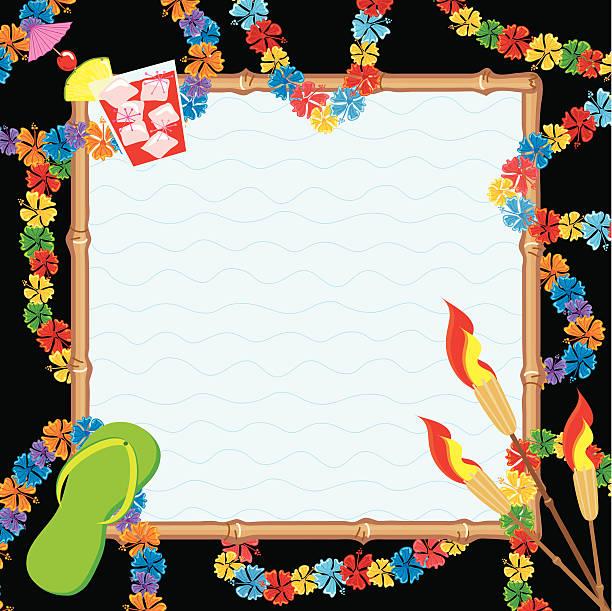 hawaiian pool party invitation - hawaiian lei stock illustrations, clip art, cartoons, & icons