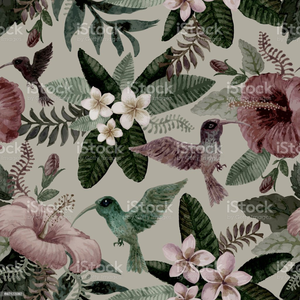 Hawaiian seamless  floral pattern from hand drawn hibiscus, humming bird colibri, exotic small flowers and fantasy tropical foliage on a light gray background. Watercolor painting texture. Wallpaper ornament, batik paint, wrapping paper, textile print vector art illustration